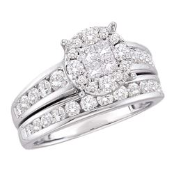 1.4 CTW Diamond Soleil Cluster Bridal Engagement Ring 14KT White Gold - REF-142M4H