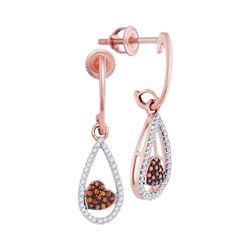 0.20 CTW Red Color Diamond Heart Dangle Earrings 10KT Rose Gold - REF-24N2F