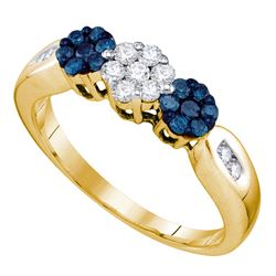 0.50 CTW Blue Color Diamond Cluster Ring 10KT Yellow Gold - REF-34H4M