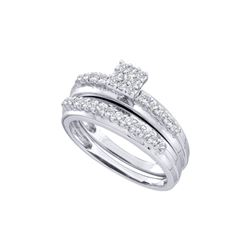 0.50 CTW Diamond Cluster Bridal Engagement Ring 14k White Gold - REF-57W2K
