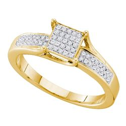 0.15 CTW Diamond Square Cluster Ring 10KT Yellow Gold - REF-22M4H
