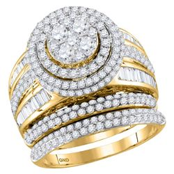 2.46 CTW Diamond Cluster Bridal Engagement Ring 14KT Yellow Gold - REF-251X9Y