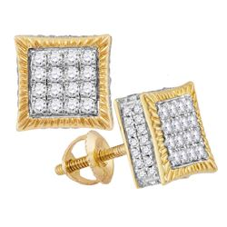 0.75 CTW Diamond Square Cluster Stud Earrings 10KT Yellow Gold - REF-52H4M