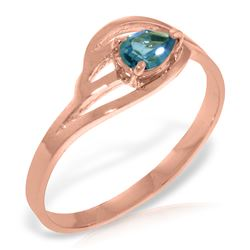 Genuine 0.30 CTW Blue Topaz Ring Jewelry 14KT Rose Gold - REF-30K5V