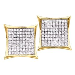 0.90 CTW Diamond Kite Cluster Earrings 14KT Yellow Gold - REF-53X9Y