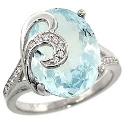 Natural 11.18 ctw aquamarine & Diamond Engagement Ring 14K White Gold - REF-169Y4X