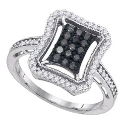 0.50 CTW Black Color Diamond Rectangle Cluster Ring 10KT White Gold - REF-30K2W