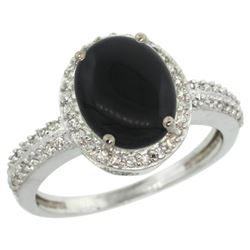 Natural 2.56 ctw Onyx & Diamond Engagement Ring 14K White Gold - REF-39A7V
