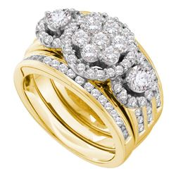 2 CTW Diamond 3-Piece Bridal Engagement Ring 14KT Yellow Gold - REF-269H9M