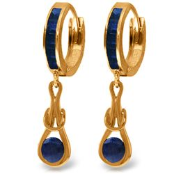 Genuine 2.6 ctw Sapphire Earrings Jewelry 14KT Rose Gold - REF-84H3X
