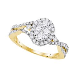 1.13 CTW Diamond Oval Cluster Halo Bridal Engagement Ring 10KT Yellow Gold - REF-127N4F