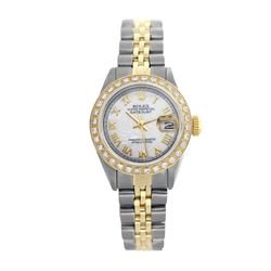 Rolex Pre-owned 26mm Womens Custom White Mother of Pearl Two Tone - REF-520X4K