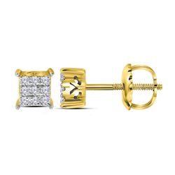 0.15 CTW Diamond Square Cluster Stud Earrings 10KT Yellow Gold - REF-13H4M
