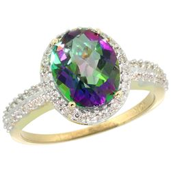 Natural 2.56 ctw Mystic-topaz & Diamond Engagement Ring 14K Yellow Gold - REF-42F2N