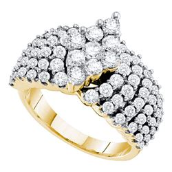 2 CTW Pave-set Diamond Oval-shape Cluster Ring 14KT Yellow Gold - REF-217W4K
