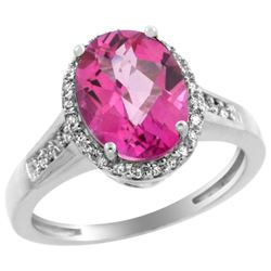 Natural 2.49 ctw Pink-topaz & Diamond Engagement Ring 14K White Gold - REF-42X2A