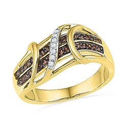 0.25 CTW Cognac-brown Color Diamond Crossover Strand Ring 10KT Yellow Gold - REF-32Y9X
