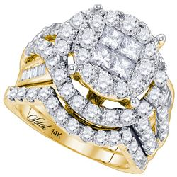 3.01 CTW Princess Diamond Soleil Bridal Engagement Ring 14KT Yellow Gold - REF-299W9K