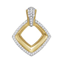 0.15 CTW Diamond Diagonal Framed Square Pendant 10KT Yellow Gold - REF-19W4K