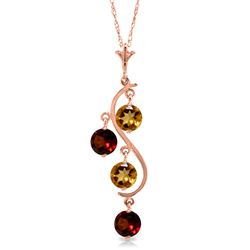 Genuine 2.3 ctw Citrine & Garnet Necklace Jewelry 14KT Rose Gold - REF-30Z2N