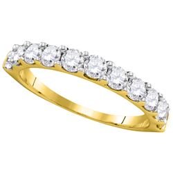 1 CTW Pave-set Diamond Wedding Ring 14KT Yellow Gold - REF-89F9N