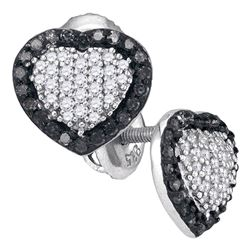 0.50 CTW Black Color Diamond Heart Earrings 10KT White Gold - REF-25Y4X