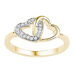 0.08 CTW Diamond Double Locked Heart Ring 10KT Yellow Gold - REF-13X4Y