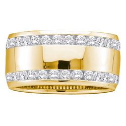 1 CTW Diamond Double Row Eternity Wedding Ring 14KT Yellow Gold - REF-119K9W