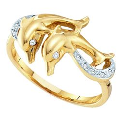 0.05 CTW Diamond Double Dolphin Ring 10KT Yellow Gold - REF-12X2Y
