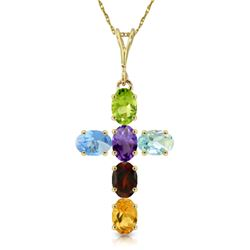 Genuine 1.50 ctw Multi-gemstones Necklace Jewelry 14KT Yellow Gold - REF-32Y8F