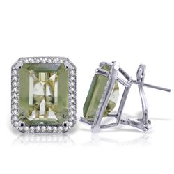 Genuine 11.60 ctw Green Amethyst & Diamond Earrings Jewelry 14KT White Gold - REF-132X5M