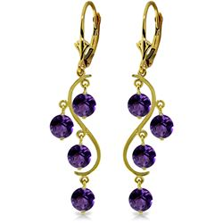 Genuine 4.95 ctw Amethyst Earrings Jewelry 14KT Yellow Gold - REF-53P8H