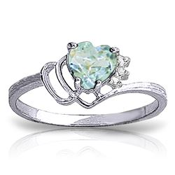 Genuine 0.97 ctw Aquamarine & Diamond Ring Jewelry 14KT White Gold - REF-32T3A