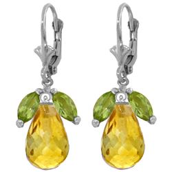 Genuine 14.4 ctw Peridot & Citrine Earrings Jewelry 14KT White Gold - REF-46Y7F