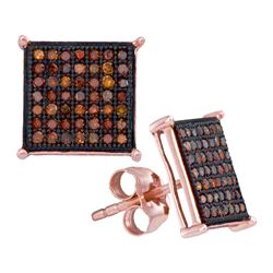 0.33 CTW Red Color Diamond Square Cluster Earrings 10KT Rose Gold - REF-30Y2X
