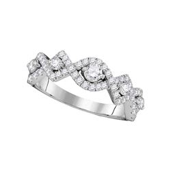 0.80 CTW Diamond Woven Ring 14KT White Gold - REF-104M9H