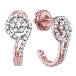 0.34 CTW Diamond J Hoop Earrings 10KT Rose Gold - REF-33F7N