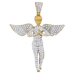 1 CTW Mens Diamond Angel Wings Cherub Charm Pendant 10KT Yellow Gold - REF-56M2H