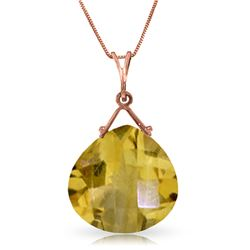 Genuine 8.5 ctw Citrine Necklace Jewelry 14KT Rose Gold - REF-26R9P