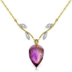 Genuine 9.52 ctw Amethyst & Diamond Necklace Jewelry 14KT Yellow Gold - REF-36Z3N