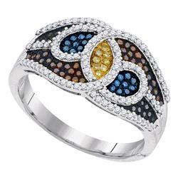 0.50 CTW Multicolor Diamond Swirl Fashion Ring 10KT White Gold - REF-52K4W