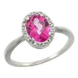 Natural 1.22 ctw Pink-topaz & Diamond Engagement Ring 14K White Gold - REF-27W2K