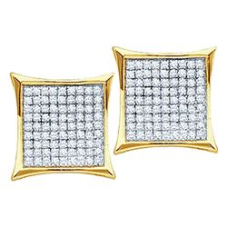 0.50 CTW Diamond Square Kite Cluster Earrings 10KT Yellow Gold - REF-37Y5X