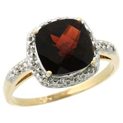 Natural 3.92 ctw Garnet & Diamond Engagement Ring 10K Yellow Gold - REF-28W4K