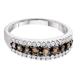 0.50 CTW Cognac-brown Color Diamond Ring 10KT White Gold - REF-22Y4X