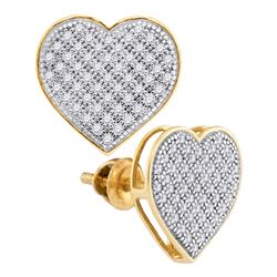 0.33 CTW Diamond Heart Screwback Earrings 10KT Yellow Gold - REF-24M2H