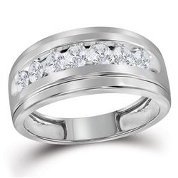 0.96 CTW Mens Diamond Wedding Ring 10KT White Gold - REF-82H4M
