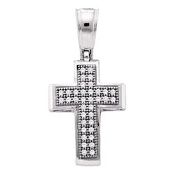 0.10 CTW Diamond Small Cross Pendant 10KT White Gold - REF-10X5Y