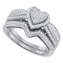 0.40 CTW Diamond Heart Bridal Engagement Ring 10KT White Gold - REF-44Y9X