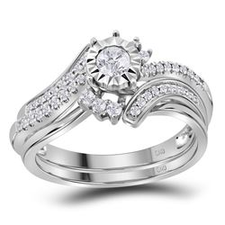 0.38 CTW Diamond Bridal Wedding Engagement Ring 14KT White Gold - REF-75K2W